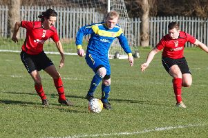 Danny Glendinning on the ball for Seamer at Filey Town. Picture by Steve Lilly