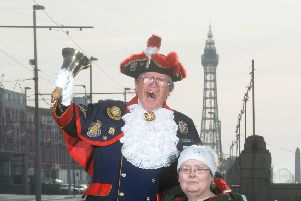 Tracey Halliday visiting Blackpool with the help of town cryer Barry McQueen