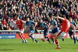 Cauley Woodrow scores from the penalty spot. 16  February 2019.  Picture Bruce Rollinson