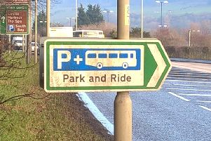 Sign to park and ride site.