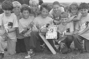 Pictured are the Lindhead School pupils who played a demonstration match at Headingley during the England v West Indies game in June 1995, from left to right: Tim Gargan, Oliver Jenkins, Edward Hesketh, Danny Lloyd, James Hesketh, Fay Turner, Mark Farrant, Stephanie Smith, and Jonathan Hall.