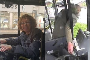 Bus driver Kath Smith, left, and the man helping himself to the cash, right