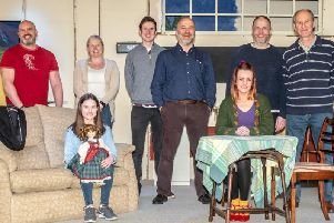 Left to right are cast members Darren Moss, Mel Crook, Tim Martin, Richard Hubbard Chris Bowers, and Kenny Entwistle. Seated are Rebecca Taylor and Erica Mileham. (s)