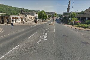 The junction of Winding Road and Well Lane in Halifax