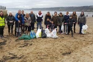 The group of volunteers from Yorkshire Wildlife Trust's beach clean