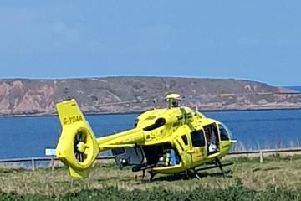 The woman was taken to hospital by Yorkshire Air Ambulance.