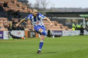 Liam Noble crosses the ball during the Vanarama National League match between Barnet and Hartlepool United at The Hive, Barnet, London on Saturday 16th March 2019. (Credit: Ian Randall   Shutter Press) �Shutter Press Tel: +44 7752 571576 e-mail: markf@mediaimage.co.uk Address: 1 Victoria Grove, Stockton on Tees, TS19 7EL