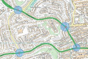 The four junctions which will be improved.