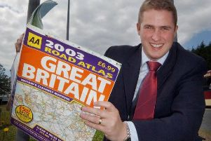 Pictured while a county councillor,  Gavin Williamson was trying to get the AA to put the local area of Crossgates on its maps.