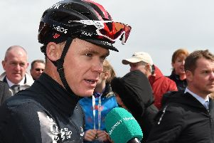 Chris Froome is interviewed for the TV coverage.
