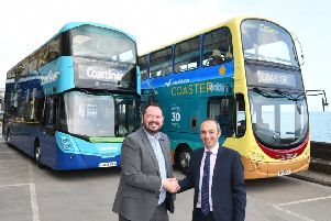 East Yorkshire area director Ben Gilligan and Transdev CEO Alex Hornby launch the new through tickets in Scarborough.