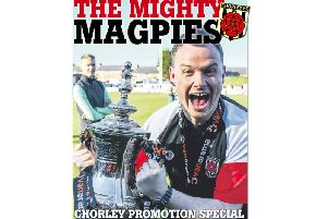 The front cover of the Lancashire Post Chorley promotion special. Pictured: Manager Jamie Vermiglio