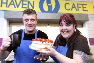 Haven Cafe opens at the YMCA with Lewis Blake and Beckie Blake ready for customers. Picture by Richard Ponter