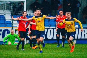 Harry Coates celebrates a goal for Tadcaster