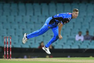 SYDNEY, AUSTRALIA - JANUARY 29: Billy Stanlake of the Strikers bowls during the Big Bash League match between the Sydney Sixers and the Adelaide Strikers at Sydney Cricket Ground on January 29, 2019 in Sydney, Australia. (Photo by Mark Evans/Getty Images)