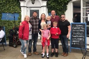 Left to right: Actress Gina Fillingham, comedian Jason Manford, Fiona Jewitt (Owner Ivy by the Sea), Steve Edge (formerly of Phoenix Nights and Benidorm) and'Rhys Howell (owner Ivy by the Sea)