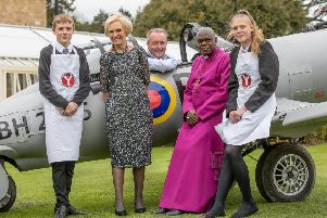 Friday 17th May 2019 'Picture Credit Charlotte Graham''Pictures Shows ArchBishop of York, With Mary Berry and Johnathan Turner at the start of the Fundraiser for the Archbishop of York Youth Trust with his home made Replica Blackburn Aircraft with Charlotte Pratt and Daniel Cheetham ''Mary Berry, Archbishop and Frances Atkins Amazed at Youth Trust Fundraiser' 'Over �30,000 was raised at an evening hosted by Bowcliffe Hall on Friday 17th May in aid of the Archbishop of York's Youth Trust.' '70 guests joined the Archbishop of York at Bowcliffe Hall on Friday evening to enjoy a five-course menu designed and cooked by the Michelin-starred chef Frances Atkins of The Yorke Arms. Mary Berry, and her son Tom, were among the guests attending this event, which was provided courtesy of Jonathan Turner, owner of Bowcliffe Hall.'Guests heard from two schools currently taking part in the Young Leaders Award (YLA), run by the Youth Trust. Students from St Johns CE Primary Academy in Brighouse and Bishop Young Academy in Sea