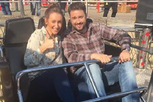 Catherine Tyldesley and Jason Manford enjoyed the rides at Luna Park