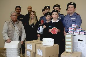 The sea cadets with the items donated by Willmott Dixon and its supply chain.