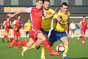 Max Wright in action during his loan spell with Scarborough Athletic