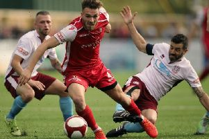 Nathan Valentine in action for Scarborough Athletic