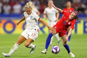 Harrogate's Rachel Daly in action against the USA. Picture: Getty Images