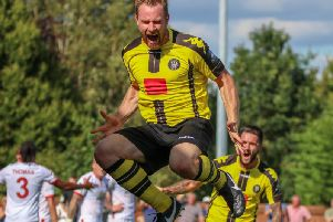 Kelvin Langmead celebrates his late goal against Sutton United on his competitive debut for Harrogate Town. The veteran defender singled out that moment as the highlight of his time in North Yorkshire. Picture: Matt Kirkham
