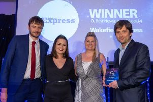 Your Wakefield Express has been named Yorkshires weekly newspaper of the year at the O2 Media Awards 2019.