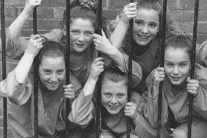 Dress rehearsals were taking place for a YMCA production back in April 1994. Pictured are jailbirds Hannah MacDonald, back left, Terri Wade, front left, Sarah Richards, Suzanne Glover, and Laura Johnson.