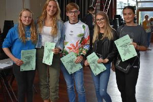 Students collecting thier results this morning. Fiona Hardman, Holly Collier, Sam Crabbe, Alice Metcalfe, Sophie Adens (left to right)