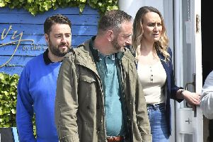 Jason Manford filming outside Ivy by the Sea on Sandside. PIC: Richard Ponter