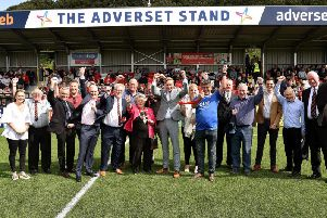 OPENING DAY: the Mayor of Scarborough, Cllr Hazel Lynskey opens the new Adverset Stand cheered on by sponsors and supporters before the Boro v Buxton game on Saturday''PICTURE BY RICHARD PONTER