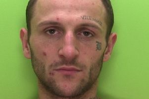 Pictured is Ben Harwood, 29, of  of Saville Street, in Blidworth, who has been jailed for five years after he was found guilty of possessing a gun, a bladed article and drugs.