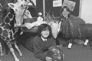 In November 1995 Raincliffe School held an open evening. Pictured are pupils Sarah Boyes and Ellen Lacey among the animal sculptures at the school's reception.