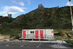 Temporary toilets have replaced a cafe and toilets that were demolished