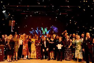The winners line up on the stage for the 2019 Wyre Business Awards. Photograph by Mel Jones Photography