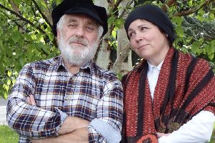 Mike Spriggs (Tevye) and Debi Alvey (Golde) in Peak Performance's production of Fiddler on the Roof. Photo by Kelly Gibbons.