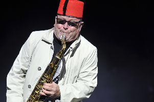 Lee Thompson on stage with Madness at last year's Lytham Festival