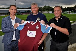 Business Energy Claims director Callum Thompson, left, with South Shields FC joint manager Graham Fenton and Business Energy Claims business development manager Mark Don.