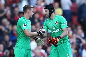 Arsenal goalkeeper Petr Cech (right) is replaced by team-mate Bernd Leno after picking up an injury.  Yui Mok/PA Wire.