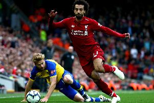 Liverpool's Mo Salah has not recahed the heights of last season in front of goal. PA