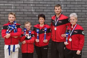 Sengoku Martial Arts members Thomas Dickens, Alfie Haycock, Nicki Harrison, Ty Harrison and Izzie Fleming, who were successful at the British Open.