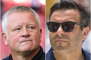 Sheffield United manager Chris Wilder and Leeds United owner Andrea Radrizzani.