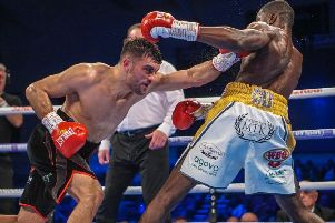 Jack Catterall goes on the attack during his win over Ohara Davies last time out. Picture Chris Roberts