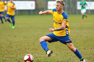 Stocksbridge Park Steels' Brodie Litchfield scored twice in the defeat to Cleethorpes Town. Picture: Peter Revitt