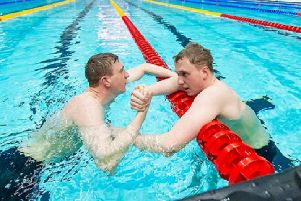 Max and Joe Litchfield congratulate each other after first and second place finishes in the England National Winter Championships.