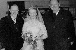 Iconic comedy duo Laurel and Hardy witn a bride at the former Sheffield Grand Hotel in March 1954.