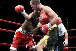 Paul Ingle has Junior Jones in trouble in their fight at Madison Square Gardens in New York. Ingle won the fight in April 2000 via an 11th round TKO. Picture: Getty Images.