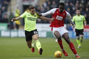 Semi Ajayi of Rotherham United  tackled by Billy Sharp of Sheffield Utd: Simon Bellis/Sportimage