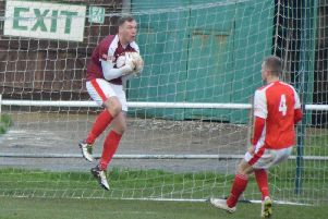 Stocksbridge's stand-in keeper Liam McFadyen shows a safe pair of hands. Picture: Gillian Handisides